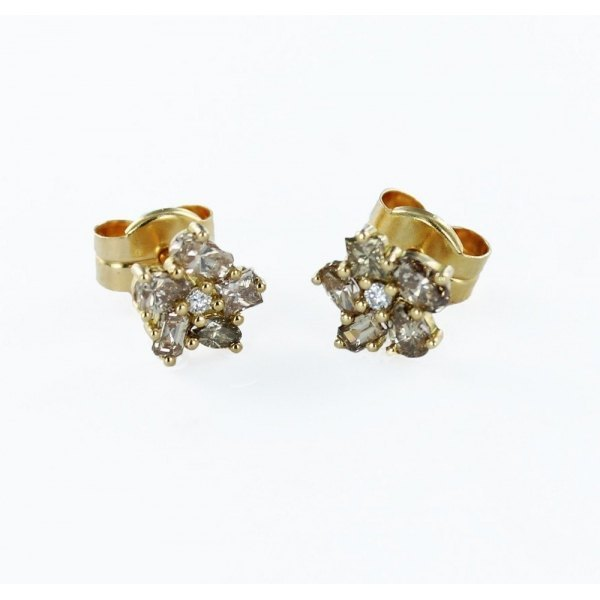 PENDIENTES DE BRILLANTES BLANCO Y BROWN