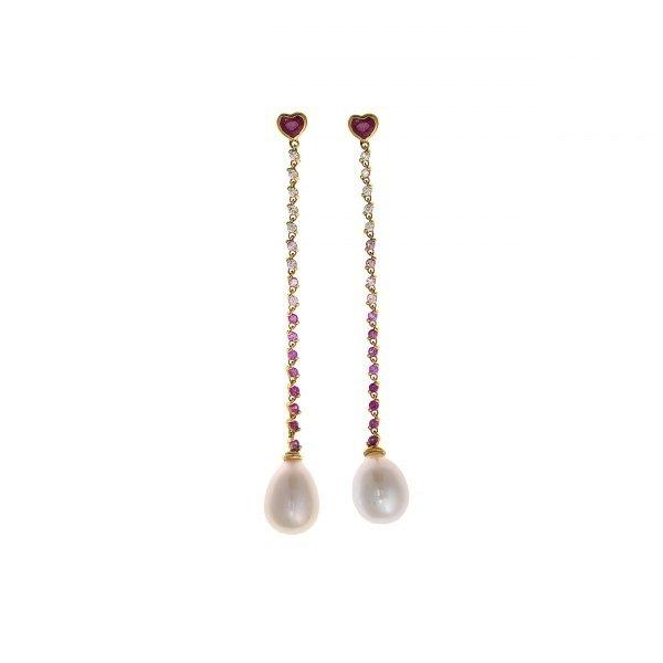 Pendientes largos de perlas y rubíes