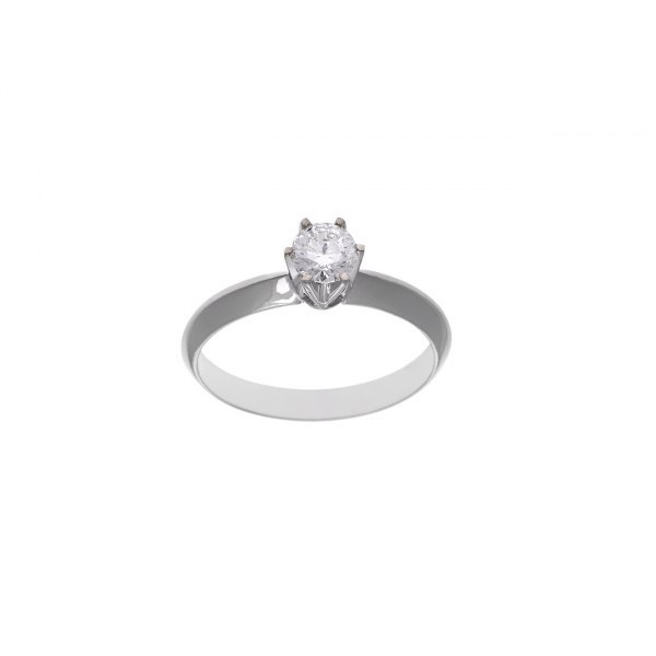 SOLITARIO DE ORO BLANCO Y BRILLANTE 0.46CT