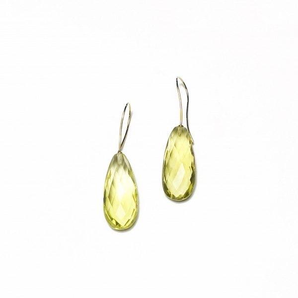 Pendiente de Cuarzo limón y oro amarillo