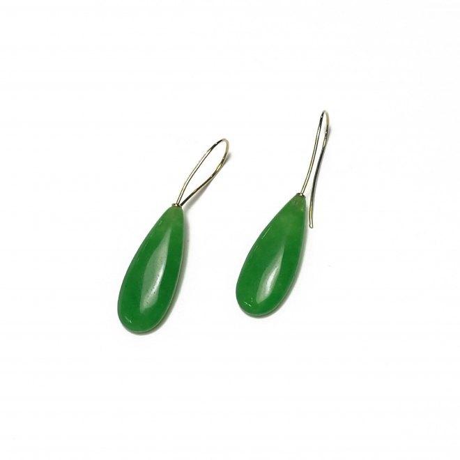 Pendiente de Jade verde y oro